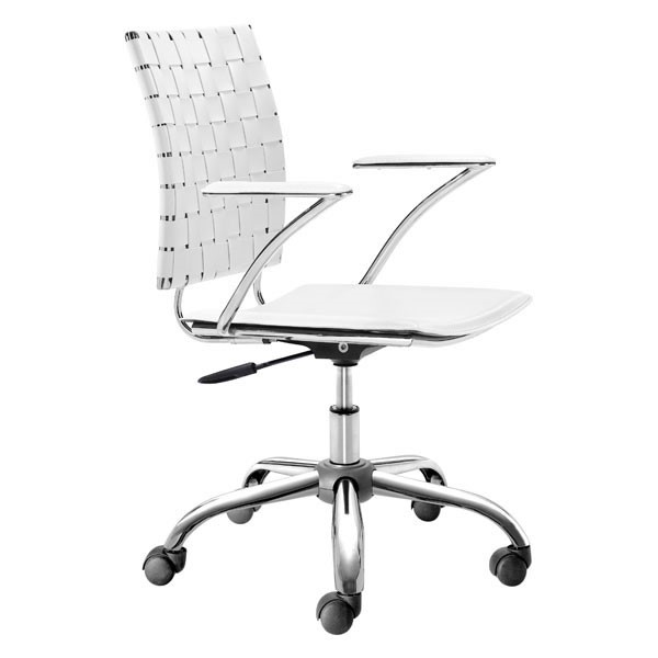 HomeRoots White Faux Leather Metal Office Chair OCN-248960