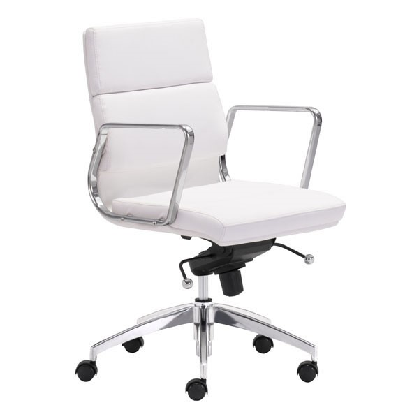 Home Roots Engineer White Low Back Office Chair OCN-248991