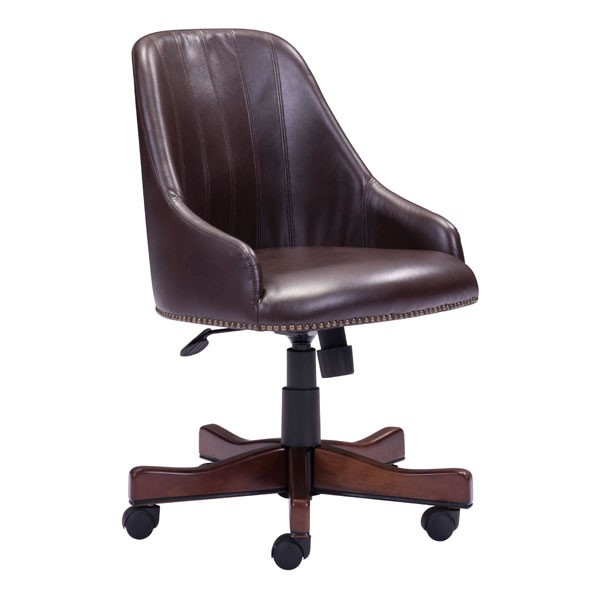 Home Roots Maximus Brown Faux Leather Office Chair OCN-248993