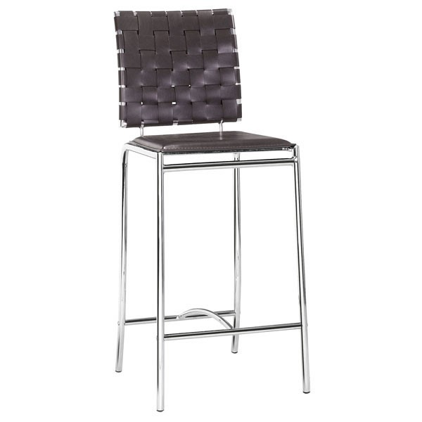 2 HomeRoots Espresso Faux Leather Metal Counter Chairs OCN-249060