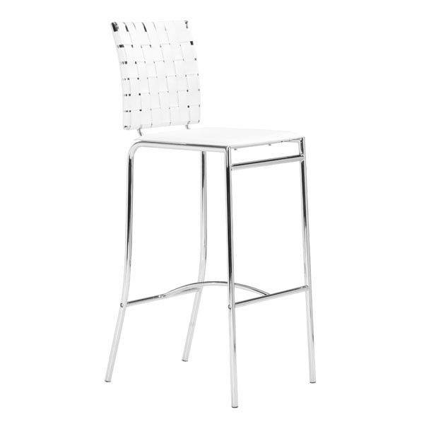2 HomeRoots White Faux Leather Metal Bar Stools OCN-249064