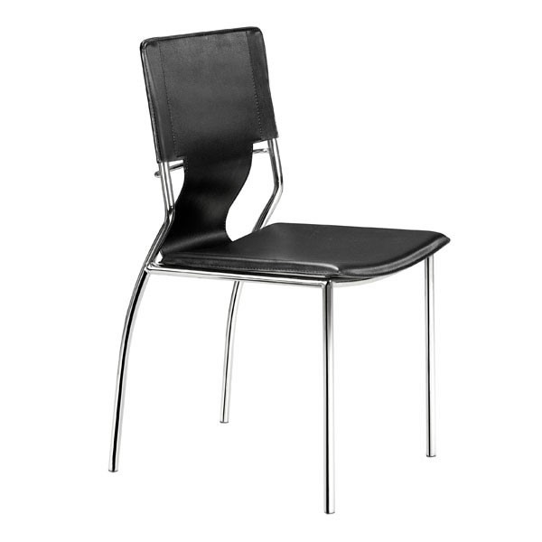 4 HomeRoots Black Faux Leather Metal Dining Chairs OCN-249092