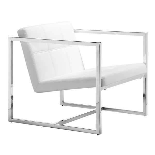HomeRoots White Faux Leather Metal Chair OCN-249106