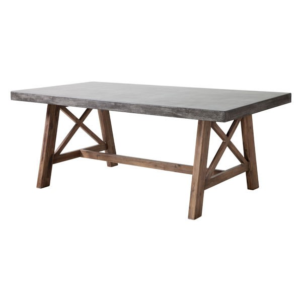 Homeroots Cement Top Natural Base Dining Table OCN-249221
