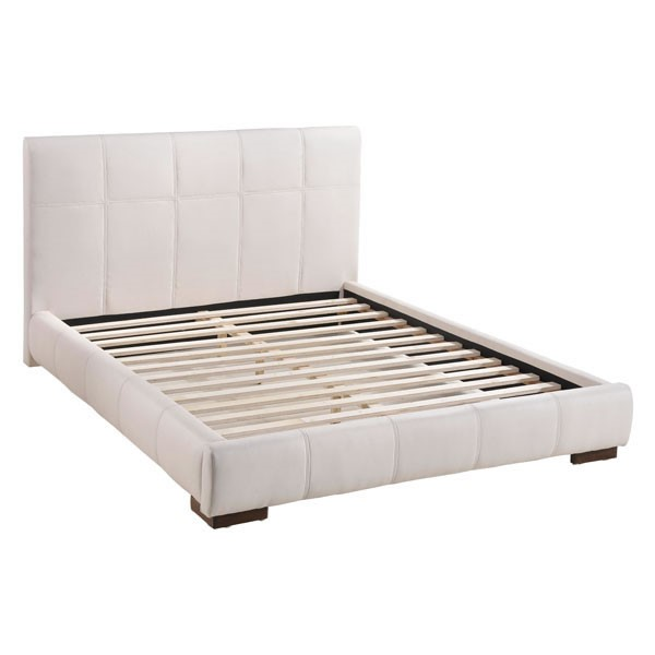 HomeRoots Amelie White Leatherette Queen Bed OCN-249257