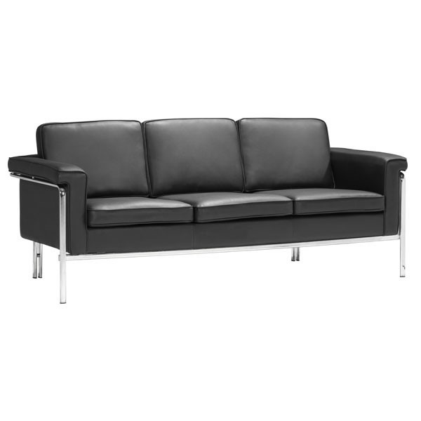 Home Roots Singular Black Faux Leather Sofa OCN-249315