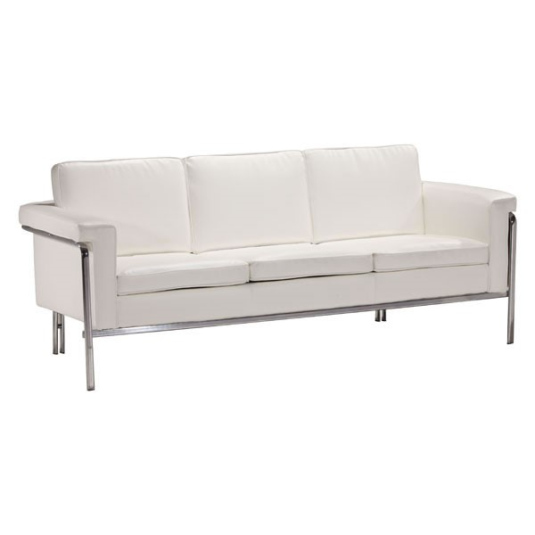 Ocean Tailer Singular White Faux Leather Sofa