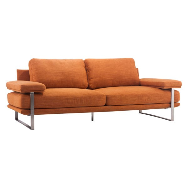 Home Roots Plump Orange Fabric Padded Arm Sofa OCN-249332