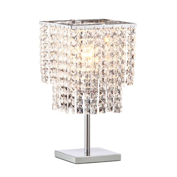 Home Roots Falling Crystal Chrome Table Lamp OCN-249341