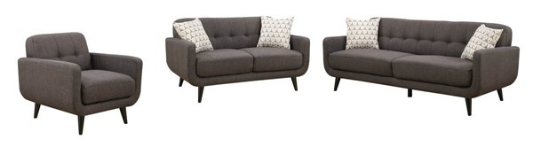 Home Roots Charcoal 3pc Living Room Set OCN-249752
