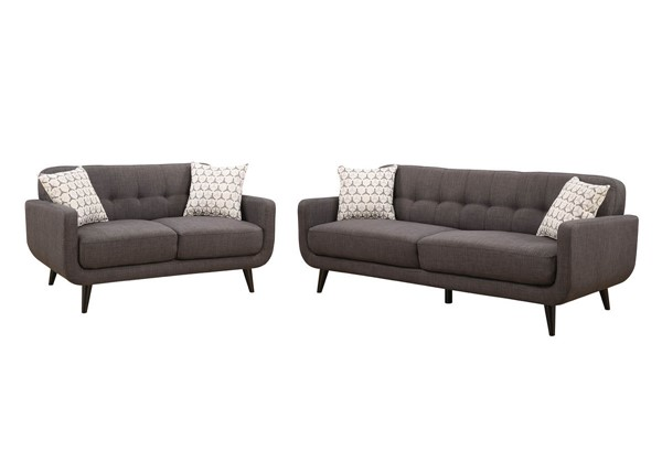 Home Roots Charcoal 2pc Living Room Set OCN-249753
