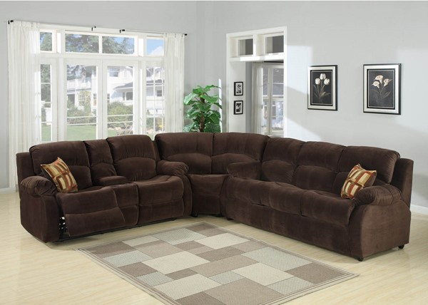 Home Roots Chocolate 3pc Sectional with Queen Sofa Bed OCN-249774