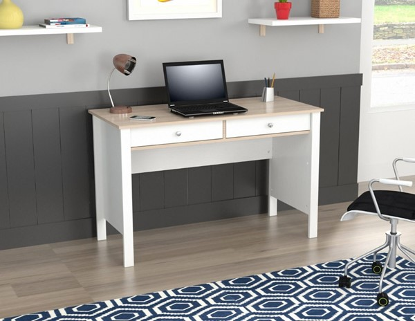 Home Roots White Solid Wood Writing Desk OCN-249846