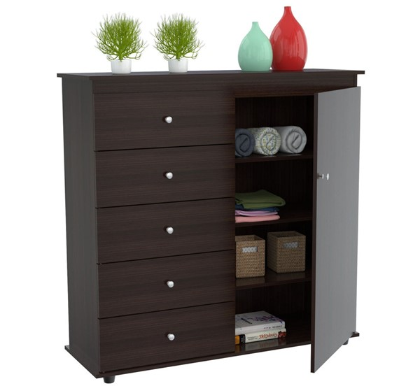 HomeRoots Espresso Solid Wood Armoire Combo | The Classy Home