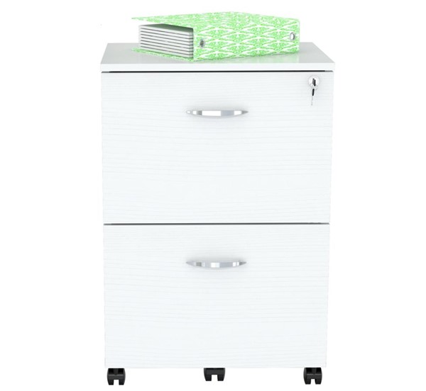 Home Roots White Solid Wood 2 Drawers Mobile File Cabinet OCN-249854