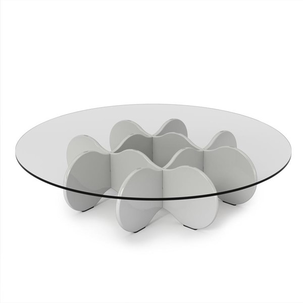 HomeRoots Round Glass Top Accent End Coffee Tables OCN-25058-ET-VAR