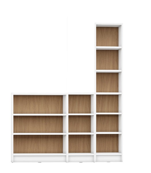 HomeRoots Greenwich 12 Wide And Narrow Shelves 3pc Bookcases OCN-250621-BC-VAR