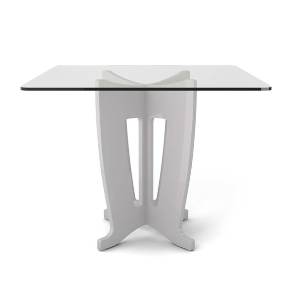 Ocean Tailer Off White 39.32 in Sleek Tempered Glass Table OCN-250713