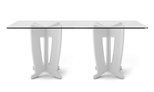 Home Roots White Gloss 2.0 -78.64 in Sleek Tempered Glass Table OCN-250715