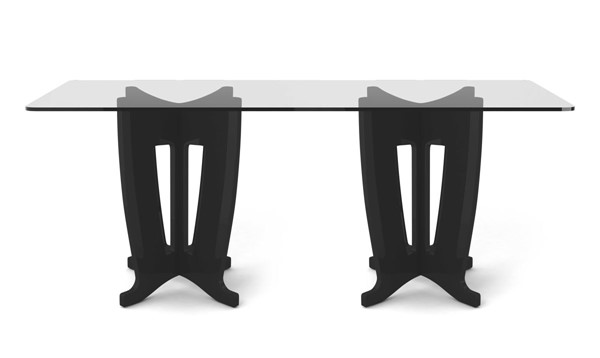 Home Roots Black Gloss 2.0 -78.64 in Sleek Tempered Glass Table OCN-250716