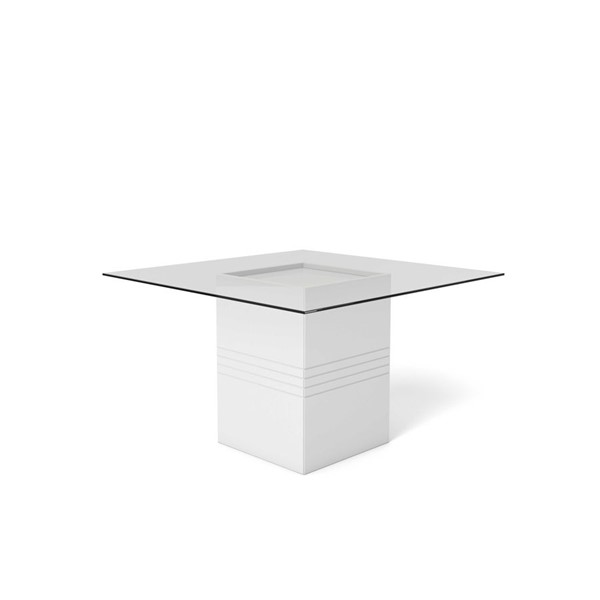 Home Roots Perry White Gloss Tempered Glass Table OCN-250719