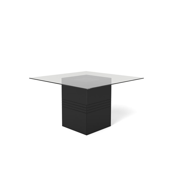 Home Roots Perry Black Gloss Tempered Glass Table OCN-250720