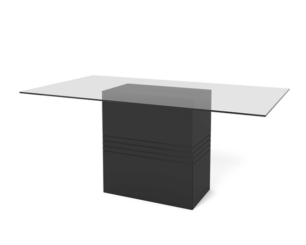 Home Roots Black Gloss 1.6 - 70.87 in Sleek Tempered Glass Table OCN-250724