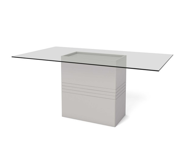 Ocean Tailer Off White 1.6 - 70.87 in Sleek Tempered Glass Table OCN-250725