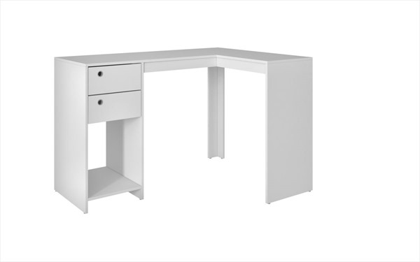 HomeRoots Palermo Modest Classic L Shaped Desk with 2 Drawers And 1 Cubby OCN-250803-OLD-VAR