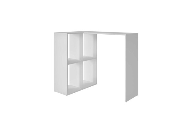 HomeRoots Pescara White Melamine MDP 4 Shelves Cubby Desk OCN-250820