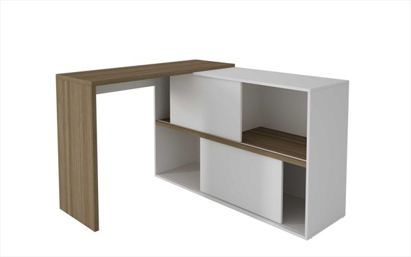 Home Roots Oak White Bookcase Desk OCN-250827