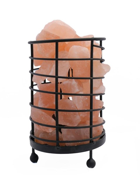 Home Roots Natural Cylinder Himalayan Rocks Wired Basket Lamp 4.0 OCN-250876