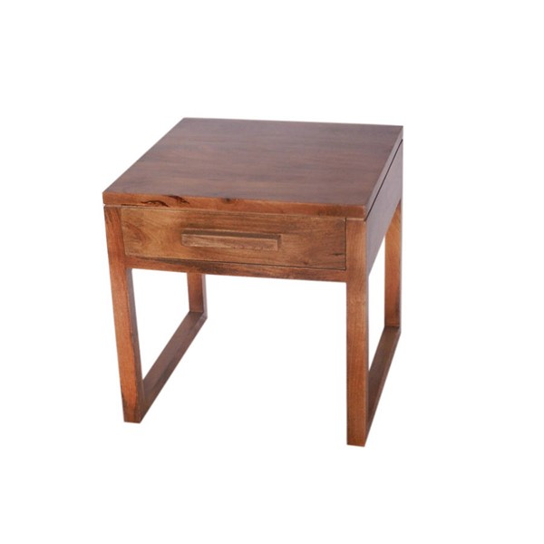 HomeRoots Urban Port Natural Alluring Side Table with Drawer OCN-251047