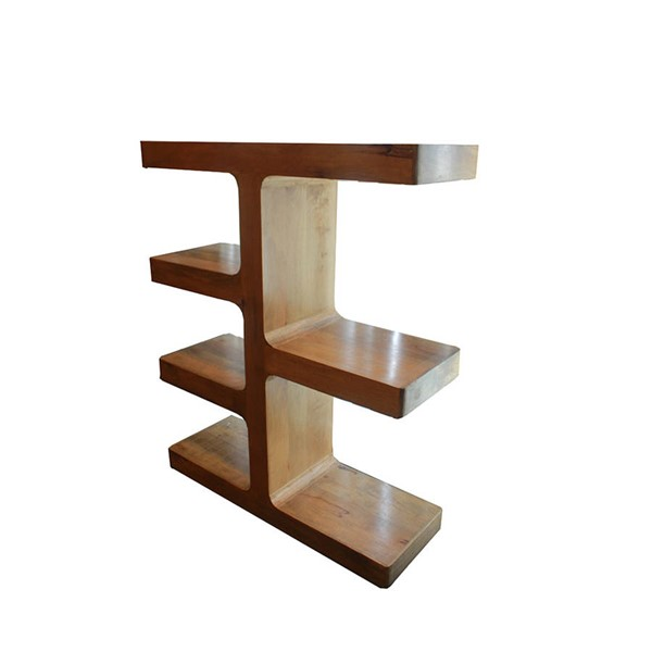 HomeRoots Urban Port Light Walnut Wood Trendy Display Shelf OCN-251055