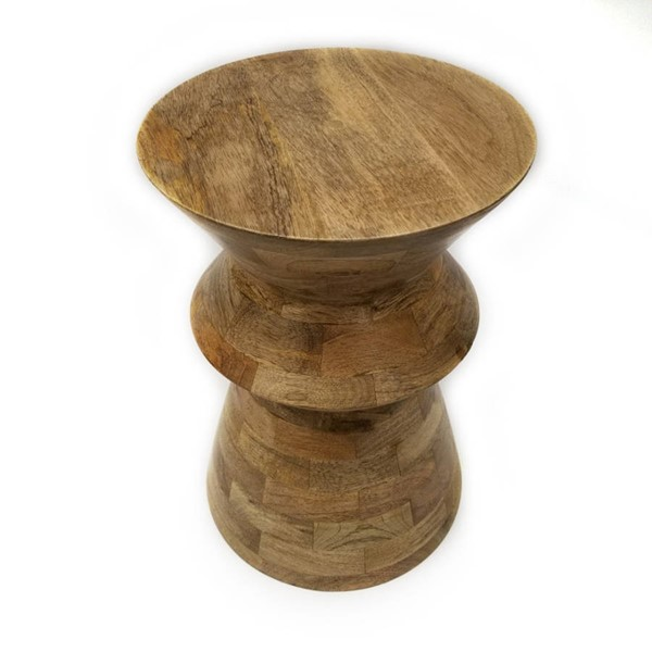 Homeroots Natural Brown Wood Round Stool OCN-251125