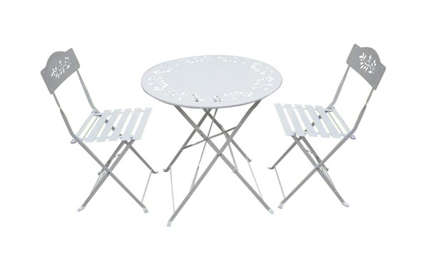 Homeroots White Metal Bistro Set with Two Chairs OCN-255206