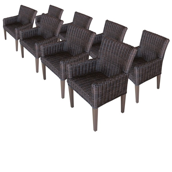 8 Home Roots Chestnut Brown Arms Dining Chairs OCN-257132