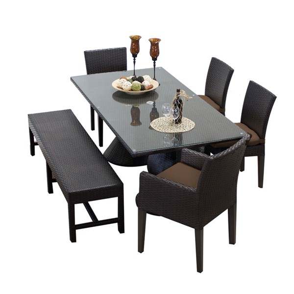 HomeRoots Rectangular Patio Outdoor Dining Sets with 4 Chairs OCN-257408-OT-DS-VAR