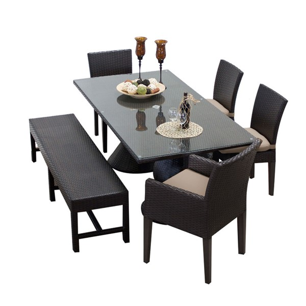 Home Roots Napa Wheat Rectangular Patio Outdoor Dining Sets with 4 Chairs OCN-257411