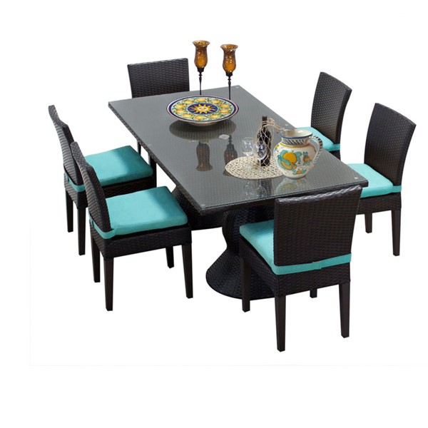 HomeRoots Napa Rectangular Patio Outdoor Dining Sets with 6 Armless Chairs OCN-257453-OT-DS-VAR