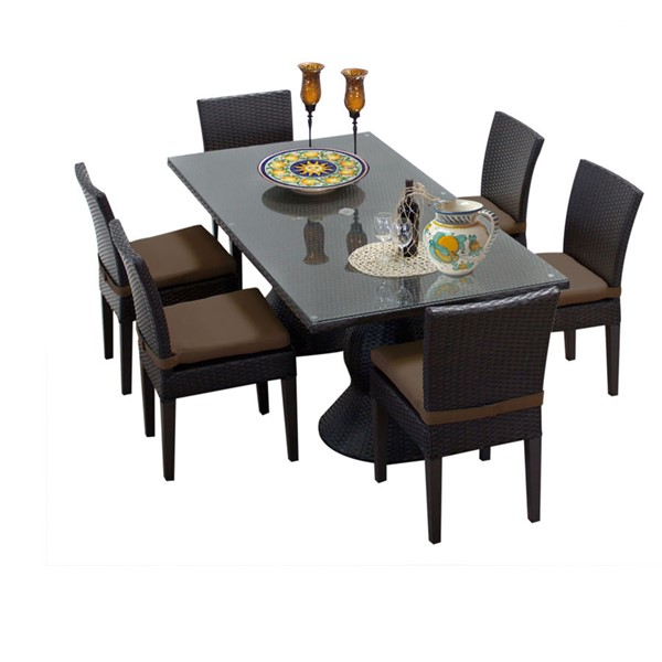 HomeRoots Napa Patio Outdoor Dining Sets with 6 Armless Chairs OCN-257456-OT-DS-VAR