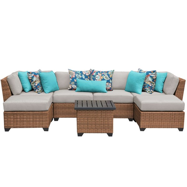 Home Roots Laguna Beige Outdoor Wicker Patio 7pc Furniture Set (07A) OCN-257639