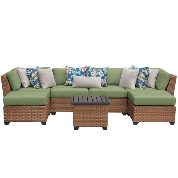 HomeRoots Laguna Cilantro Outdoor Wicker Patio 7pc Furniture Set (07A) OCN-257640
