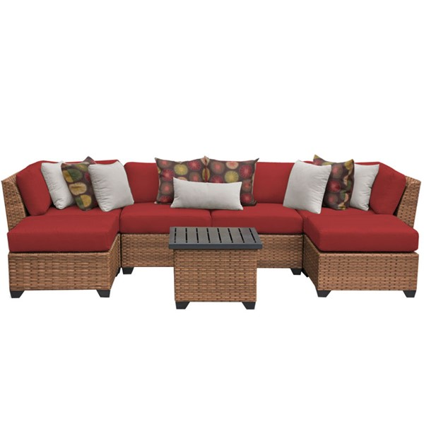 HomeRoots Laguna Terracotta Outdoor Wicker Patio 7pc Furniture Set (07A) OCN-257643