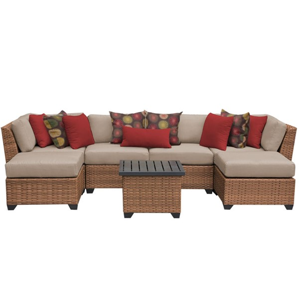HomeRoots Laguna Wheat Outdoor Wicker Patio 7pc Furniture Set (07A) OCN-257644
