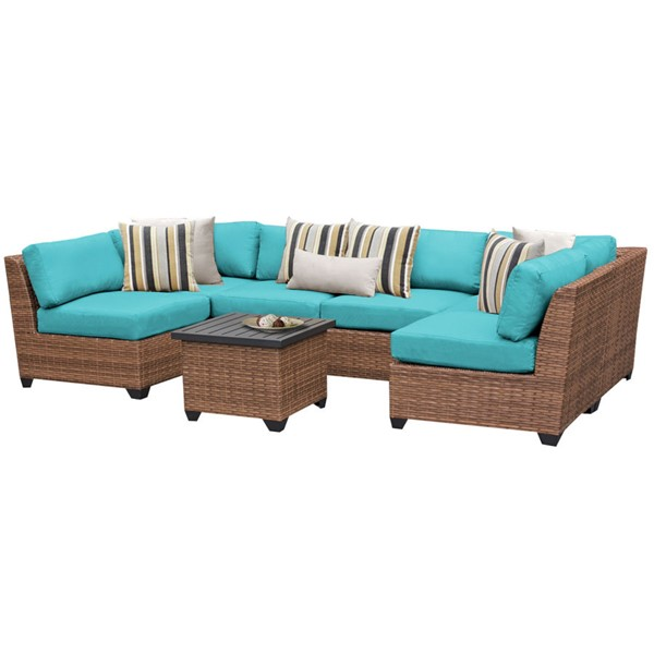 HomeRoots Laguna Outdoor Wicker Modern Patio 7pc Furniture Set (07C) OCN-257652-OT-SEC-VAR