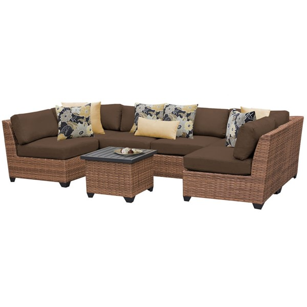 Home Roots Laguna Cocoa Outdoor Wicker Patio 7pc Furniture Set (07C) OCN-257655
