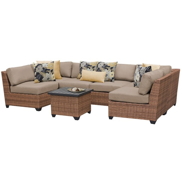 Home Roots Laguna Wheat Outdoor Wicker Patio 7pc Furniture Set (07C) OCN-257658