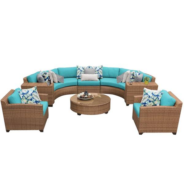 HomeRoots Laguna Caramel Wicker 8pc Outdoor Seating Sets (08E) OCN-25768-OUT-SS-VAR