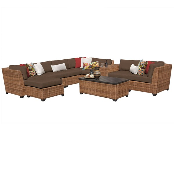 Home Roots Laguna Cocoa Caramel Wicker 10pc Outdoor Sectional (10B) OCN-257711